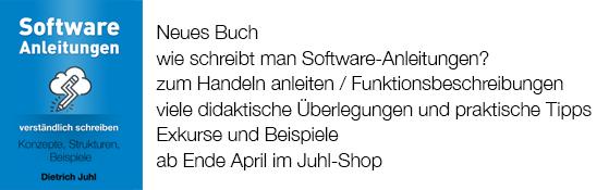 Buch Dietrich Juhl, Software-Anleitungen verständlich schreiben, 2018